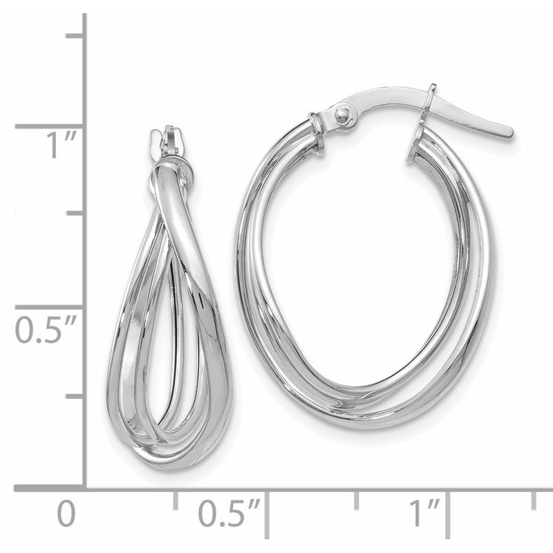 Leslie's Leslie's 14K White Gold Polished Twist Hoop Earrings