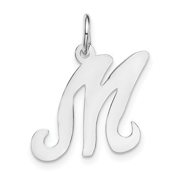 14KW White Gold Script Letter M Initial Charm