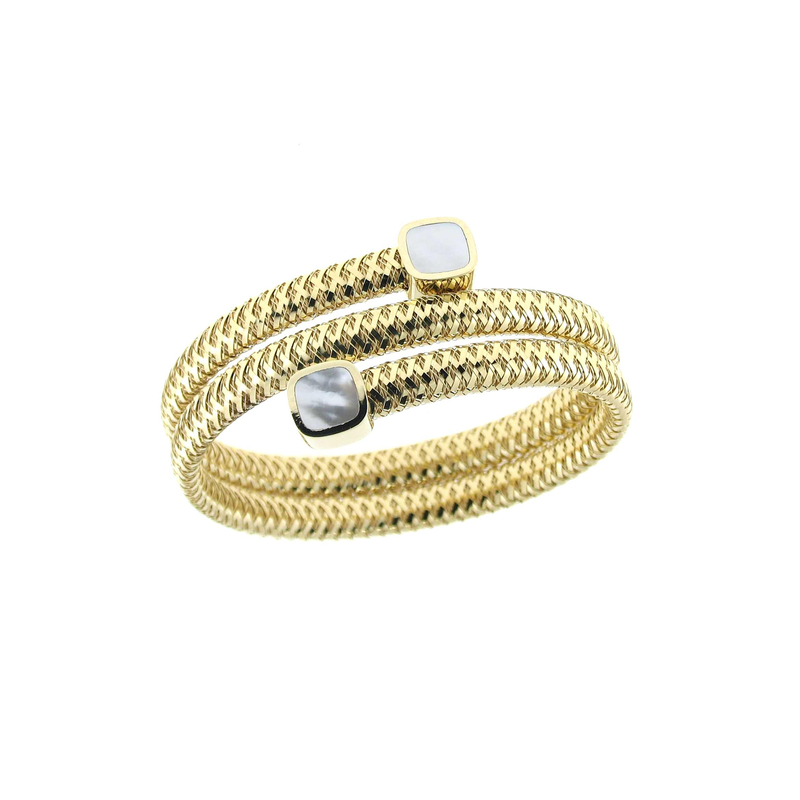 Roberto Coin 18Kt Gold Flexible Triple Wrap Bangle With Mother Of Pearl