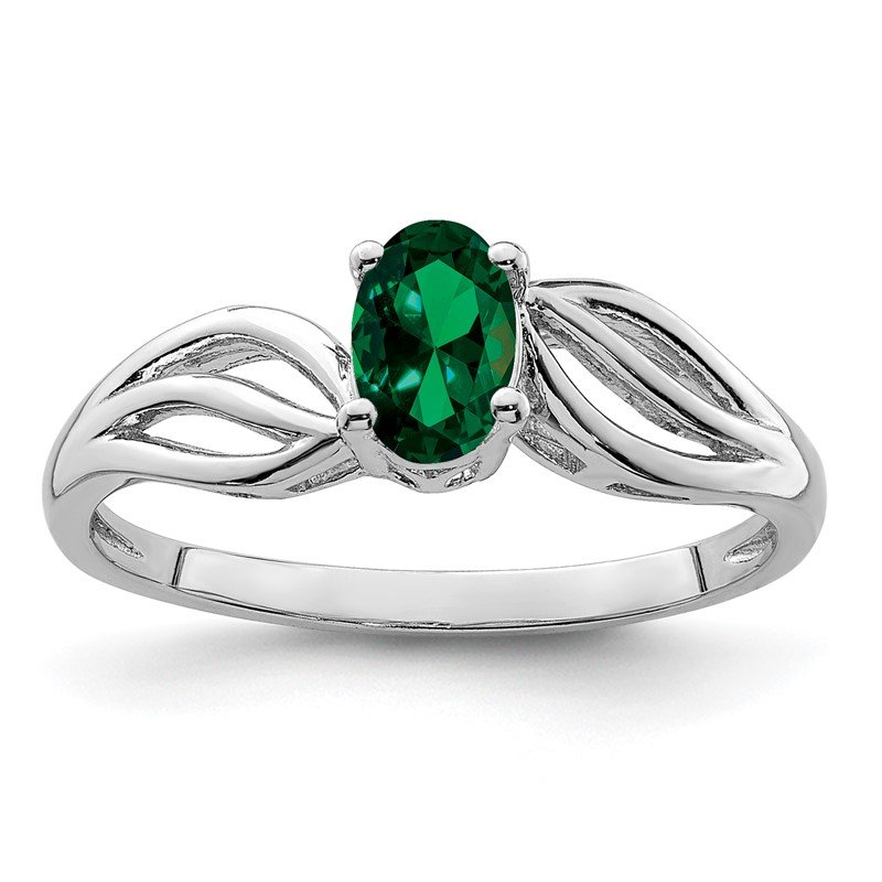 Quality Gold Sterling Silver Rhodium-plated Created Emerald Ring
