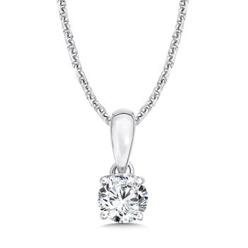 Diamond Solitaire Pendant in 14K White Gold (1/3ct. tw.)