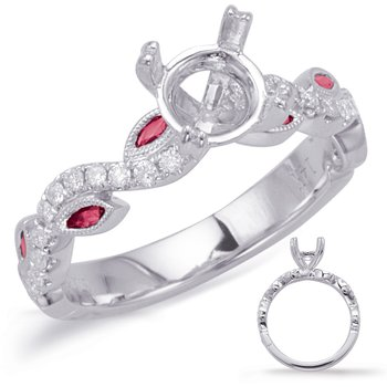 White Gold & Ruby Engagement Ring