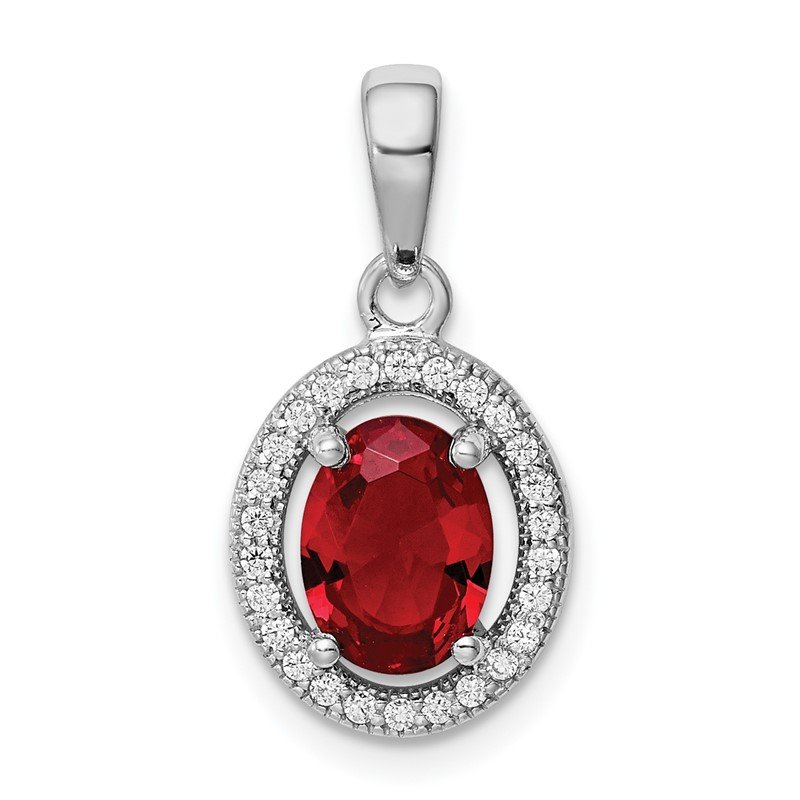 Quality Gold Sterling Silver Rhod-plated Red and White CZ Oval Pendant