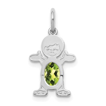 14K White Gold Boy 6x4 Oval Genuine Peridot-August