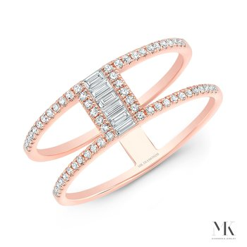 Rose Gold Two Row Baguette Ring