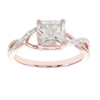 14k Rose Gold 1 1/3ct Morganite Center and .03ct Diamond Ring