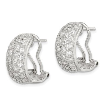 Sterling Silver CZ Omega Back Earrings