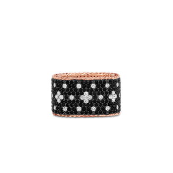 Wide Ring With Black And White Fluer De Lis Diamonds &Ndash; 18K Rose Gold