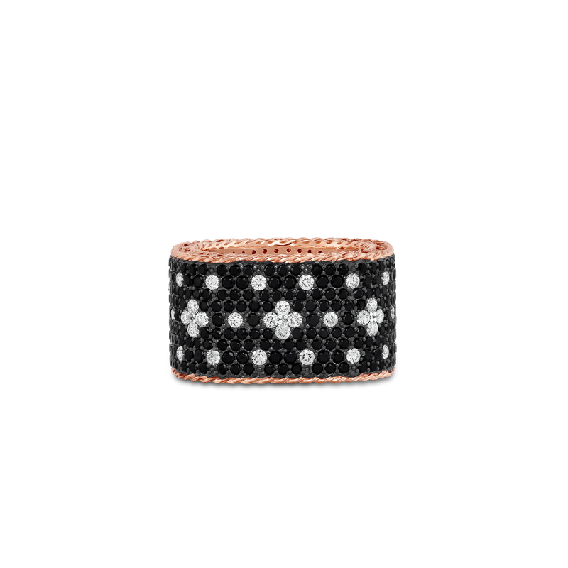 Roberto Coin 18KT GOLD WIDE RING WITH BLACK AND WHITE FLEUR DE LIS DIAMONDS