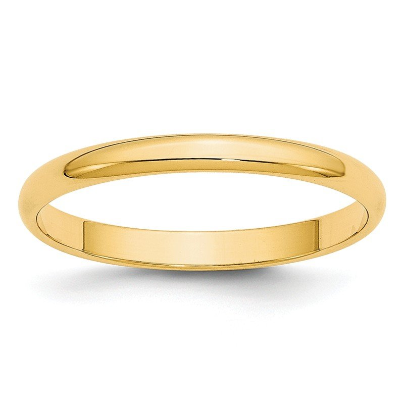 Quality Gold 14KY 2.5mm LTW Half Round Band Size 10