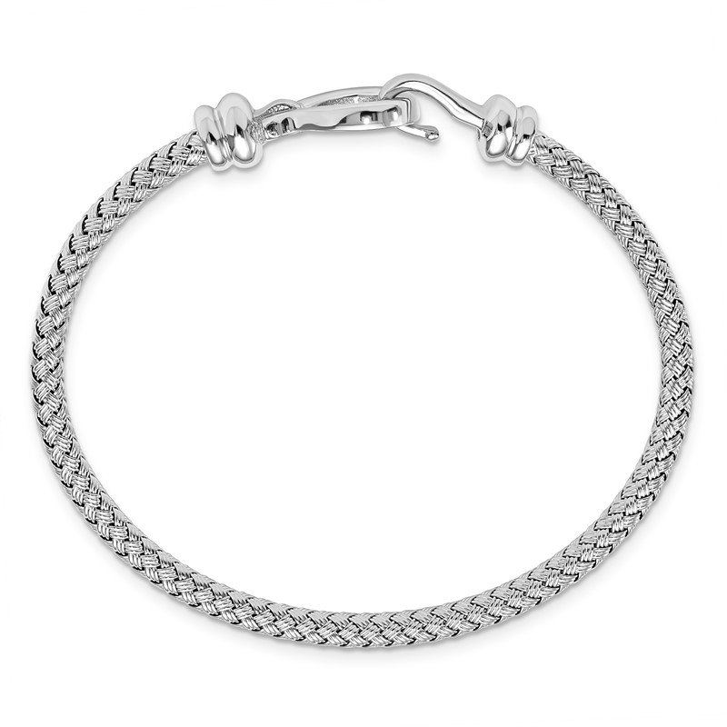 Leslie's Leslie's Sterling Silver Hook Rhodium-plated Bangle