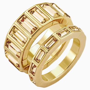 Fluid Stacking Ring, Brown, Gold-tone plated
