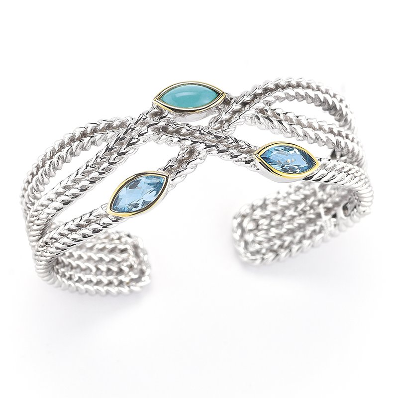 Shula NY  Blue Topaz Sterling Silver and 14K Hinged Bangle