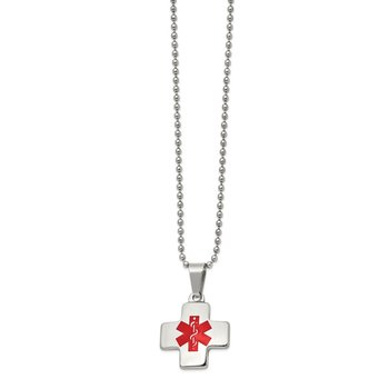 Stainless Steel Polished w/Red Enamel Cross Medical ID 20in Necklace
