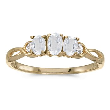 14k Yellow Gold Oval White Topaz And Diamond Three Stone Ring