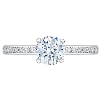 14K White Gold Round Cut Diamond Engagement Ring (Semi-Mount)