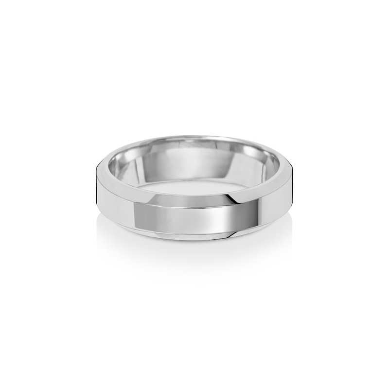 Treasure 18Ct White Gold 5mm Soft Court Bevelled Wedding Ring