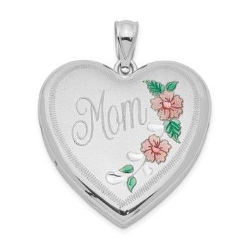 Sterling Silver Rhodium-plated 24mm Enameled Floral Mom Heart Locket