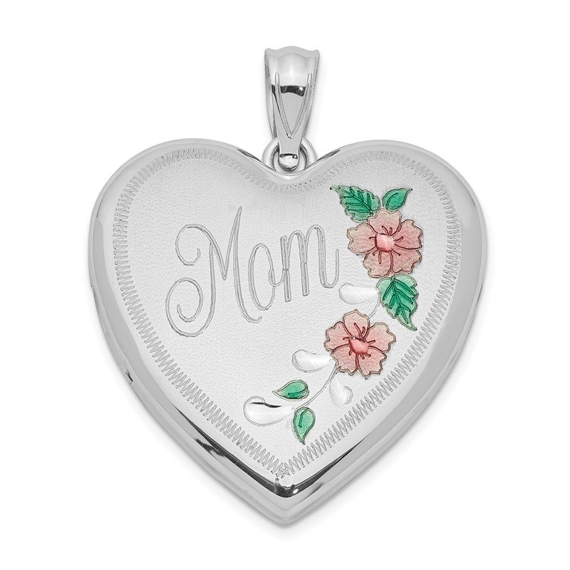 JC Sipe Essentials Sterling Silver Rhodium-plated 24mm Enameled Floral Mom Heart Locket