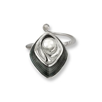 Gray Diamond-Shaped Ring.Sterling Silver-Freshwater Pearl