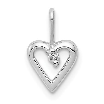 14k White Gold .02ct. Diamond Heart Pendant
