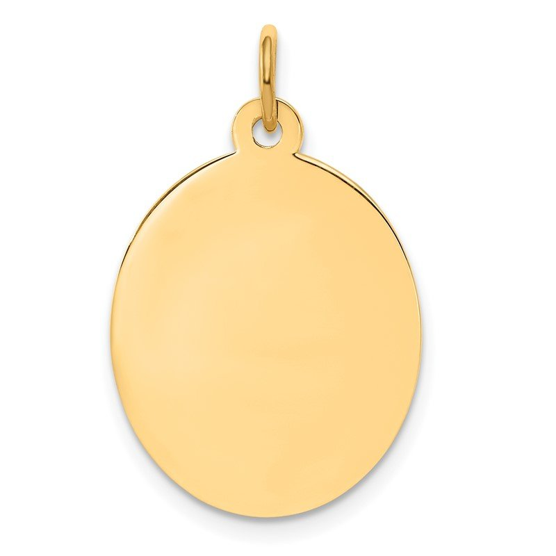 Quality Gold 14k Plain .009 Gauge Engravable Oval Disc Charm
