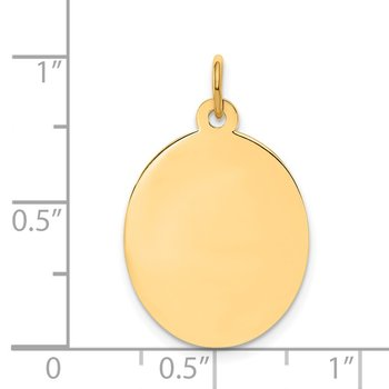 14k Plain .009 Gauge Engravable Oval Disc Charm
