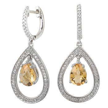Daimond and Citrine Dangle Earrings