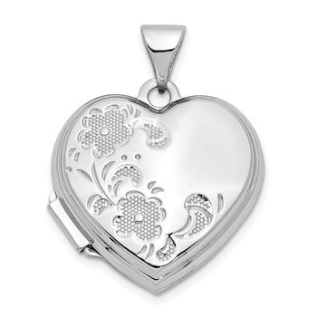 14k White Gold Polished Textured Floral Heart Locket