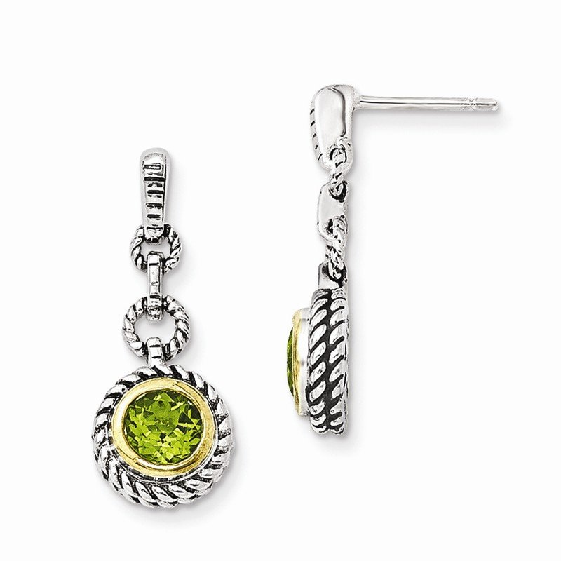 Shey Couture Sterling Silver w/Gold-tone Flash Gold-plated Peridot Earrings