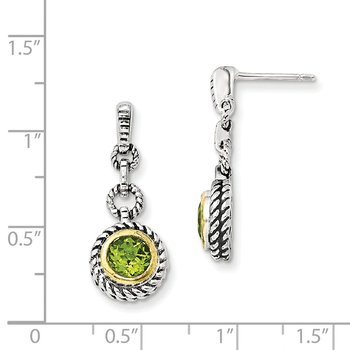 Sterling Silver w/Gold-tone Flash Gold-plated Peridot Earrings