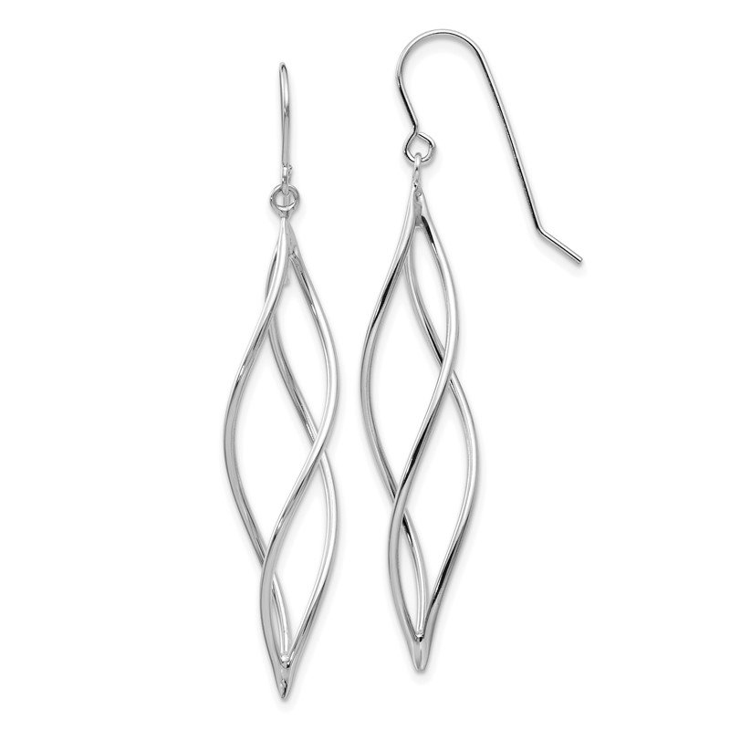 Quality Gold 14k White Gold Polished Long Twisted Dangle Earrings
