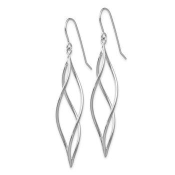 14k White Gold Polished Long Twisted Dangle Earrings