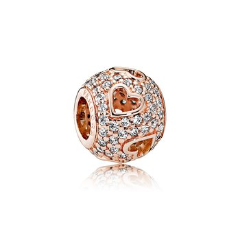 Tumbling Hearts Charm, Pandora Rose™ Clear Cz