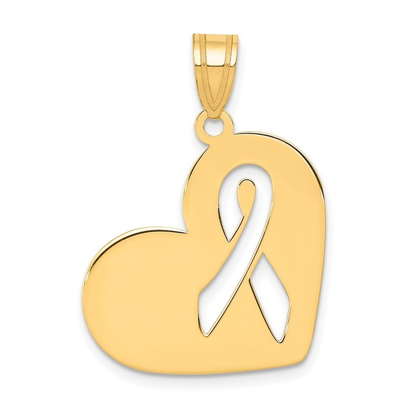 Quality Gold 14k Heart W/Cut Out Awareness Ribbon Charm