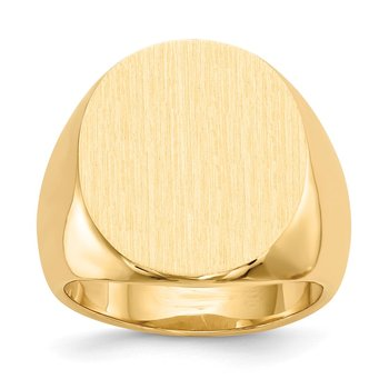 14k 19.5x17.5mm Closed Back Men's Signet Ring