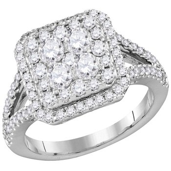 14kt White Gold Womens Round Diamond Square Cluster Bridal Wedding Engagement Ring 1-1/2 Cttw