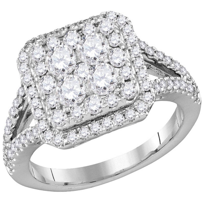 Gold-N-Diamonds, Inc. (Atlanta) 14kt White Gold Womens Round Diamond Square Cluster Bridal Wedding Engagement Ring 1-1/2 Cttw