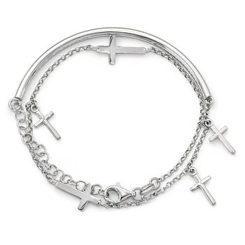 Leslie's Sterling Silver Polished Crosses w/2in ext. Wrap Bracelet