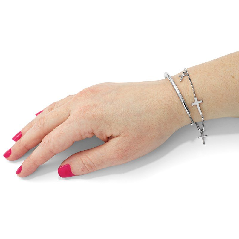 Leslie's Leslie's Sterling Silver Polished Crosses w/2in ext. Wrap Bracelet