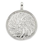 Quality Gold Sterling Silver CZ Large Circle Swirl Pendant