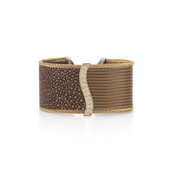 Bronze Cable & Bronze Stingray Cuff with 18kt White Gold & Diamonds