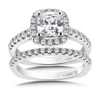 Caro74 Halo Engagement Ring Mounting in 14K White Gold with Platinum Head (.48 ct. tw.)