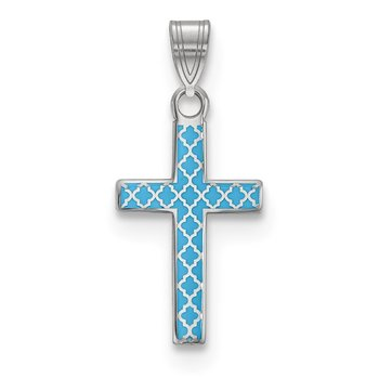 Sterling Silver Rhodium-plated Blue Enameled Cross Hatch Cross Charm