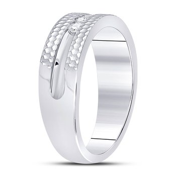 10kt White Gold Mens Round Diamond Single Row Hammered Wedding Band Ring 1/4 Cttw