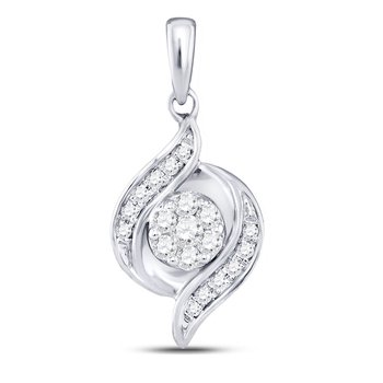14kt White Gold Womens Round Diamond Flower Cluster Pendant 1/5 Cttw