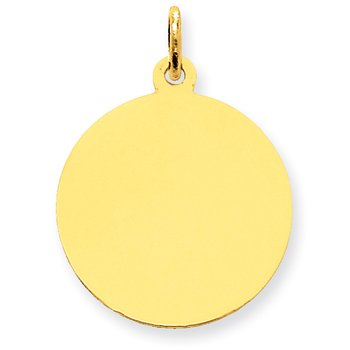 14k Plain .009 Gauge Circular Engravable Disc Charm