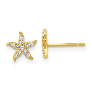 14k Madi K Childrens CZ Starfish Post Earrings