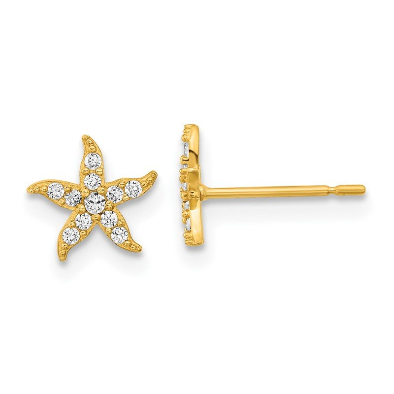 Quality Gold 14k Madi K Childrens CZ Starfish Post Earrings