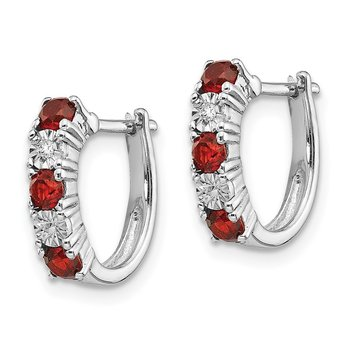 Sterling Silver Rhodium-plated Garnet & Diamond Earrings